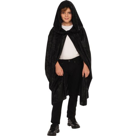Black 36 Inch Adult Short Velvet Witch Costume Cape With - Black Velvet Hooded Cape