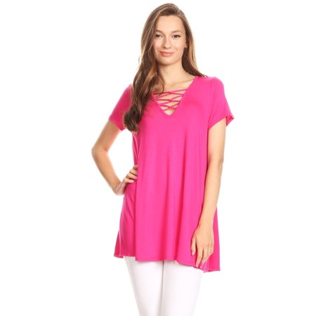 0ff893e03b Moa Collection - Women's short sleeves solid knit top - Walmart.com