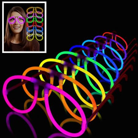 12pc Aviator Glow in dark Eyeglasses Assorted Color best for party birthday - Glow In The Dark Rave Wear