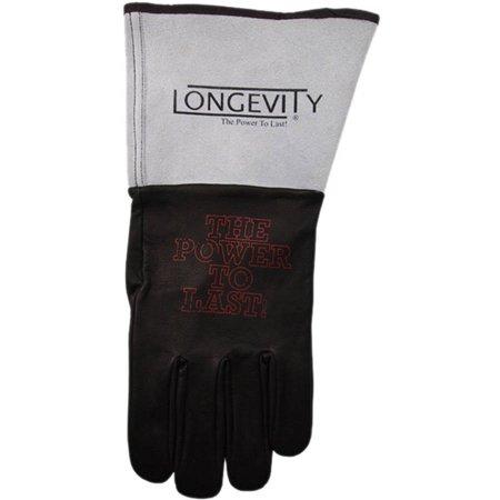 Longevity Welding Armor Medium Black and Gray Leather TIG Welding Gloves