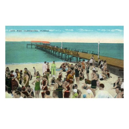 Party City In Clearwater Fl (Clearwater, Florida - View of City Pier from Beach Print Wall Art By Lantern)