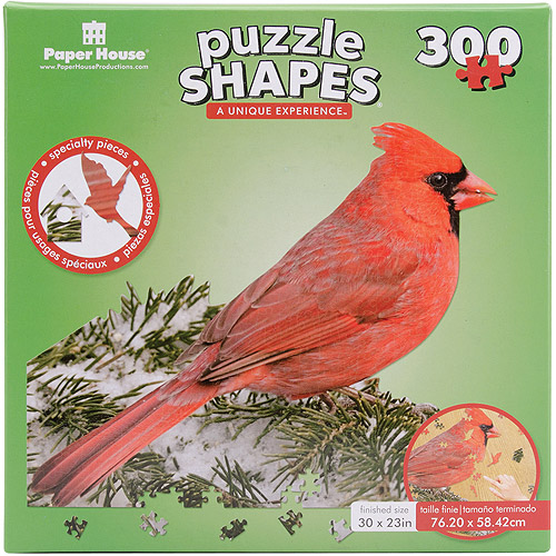 "Jigsaw Shaped Puzzle 300 Pieces-Red Cardinal 30""X23"""