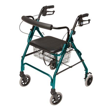 Lumex Walkabout Lite Four-Wheel Rollator, Teal Green, -