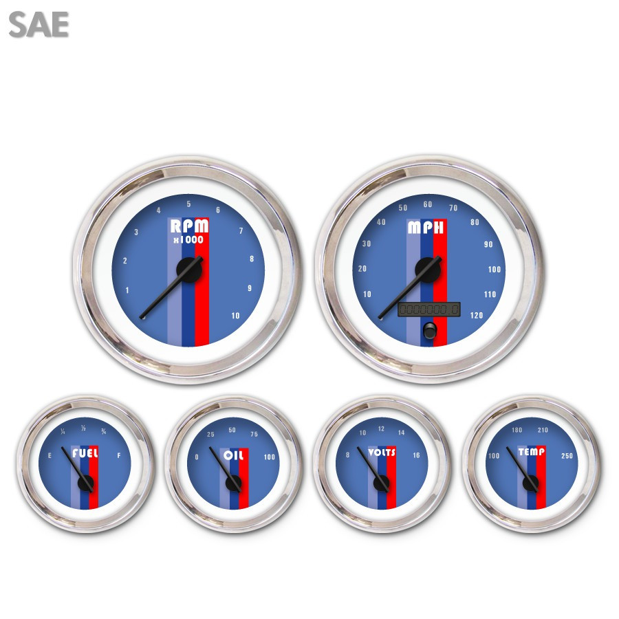6 Gauge Set-SAE Vintage Autobahn Blue Black Modern Needles Chrome Trim Rings Style Kit DIY Install