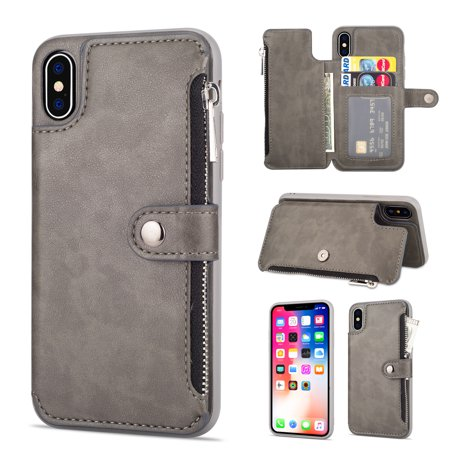 - iPhone XS Case, iPhone X Case with Cards Holder, Allytech PU Leather Kickstand Slim Fit Shockproof Heavy Duty Protective Credit Cards Holder Wallet Case Cover for Apple iPhone XS, iPhone X, Gray