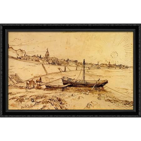 (Bank of the Rhone at Arles 40x28 Large Black Ornate Wood Framed Canvas Art by Vincent van Gogh)