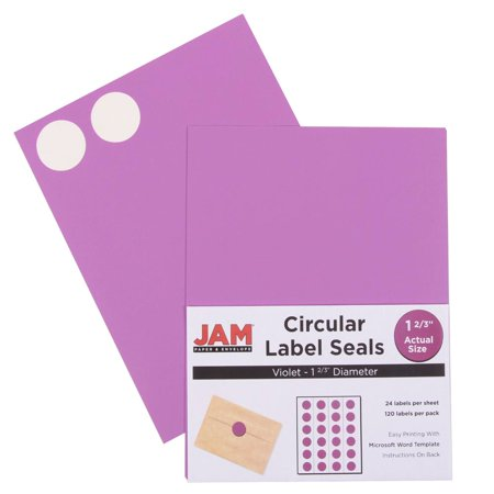 JAM Paper Round Circle Label Sticker Seals - 1 2/3 Diameter - Violet Purple - 120/pack JAM Paper® Violet Purple Round Circle Label Sticker Seals measure 1 2/3 inches in diameter and are sold on sheets of 24 labels. Each pack contains 5 sheets for a total of 120 labels per pack! These labels feature a light, cheerful, bright violet purple color! These labels are great for reinforcing envelopes and small packages as well as creating small price tags and labeling items with initials and more! Compatible with most printers, these labels can be customized in your own office or home. They are also easy to write on with most kinds of pens and markers. Try these round labels for your home or office needs.