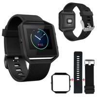 Replacement Silicone Strap Wristband + Stainless Steel Frame for Fitbit Blaze SmartWatch Fitness Tracker