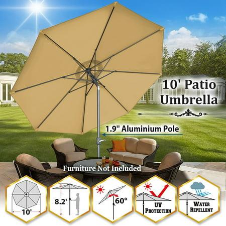 Sunrise 10' Outdoor Patio Umbrella 8 Ribs Market Parasol Sunshade with Tilt and Crank (Beige) ()
