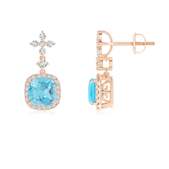 Angara Cushion Swiss Blue Topaz Halo Earrings with Diamonds 53XuHJV