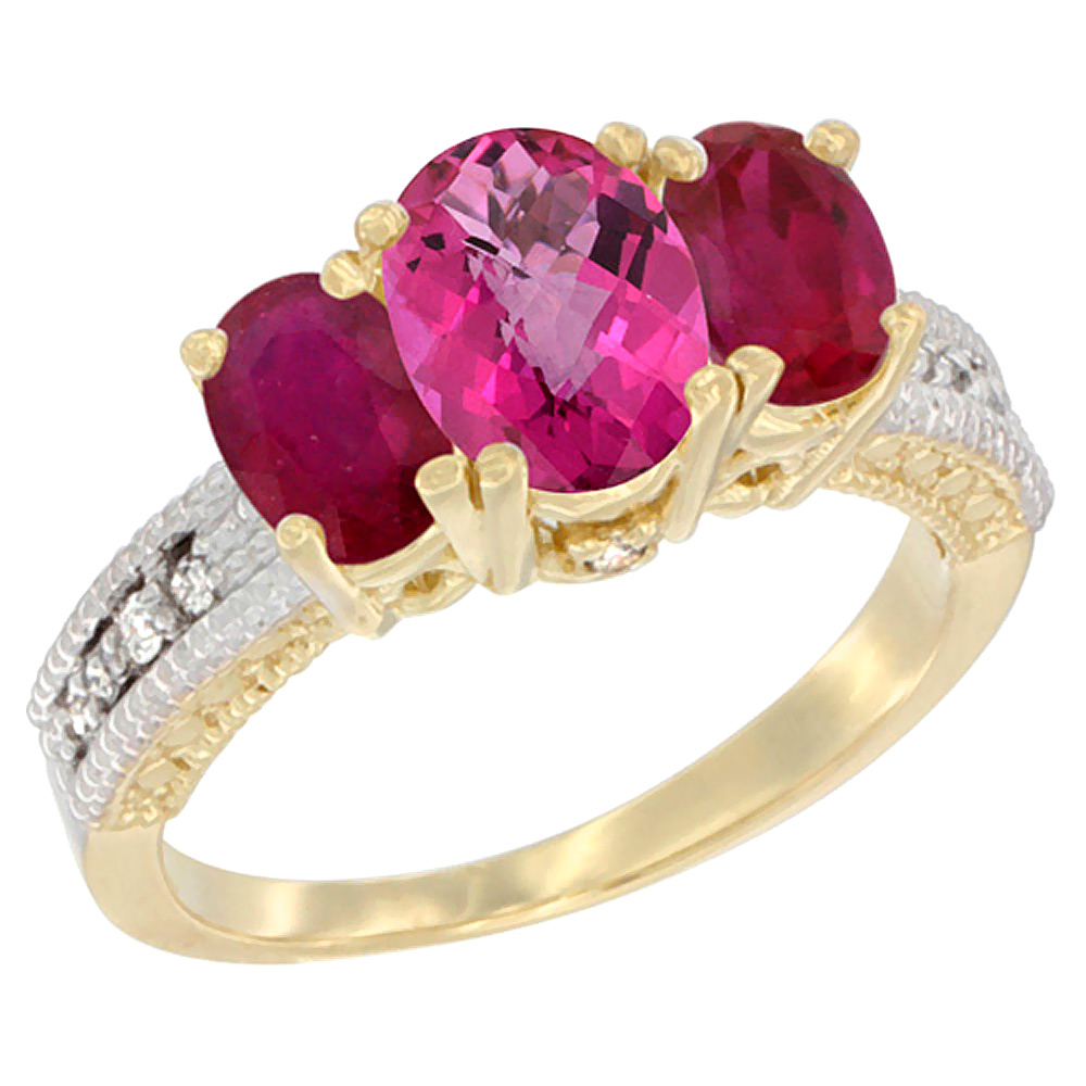 10K Yellow Gold Diamond Natural Pink Topaz Ring Oval 3-stone with Enhanced Ruby, sizes 5 10 by WorldJewels