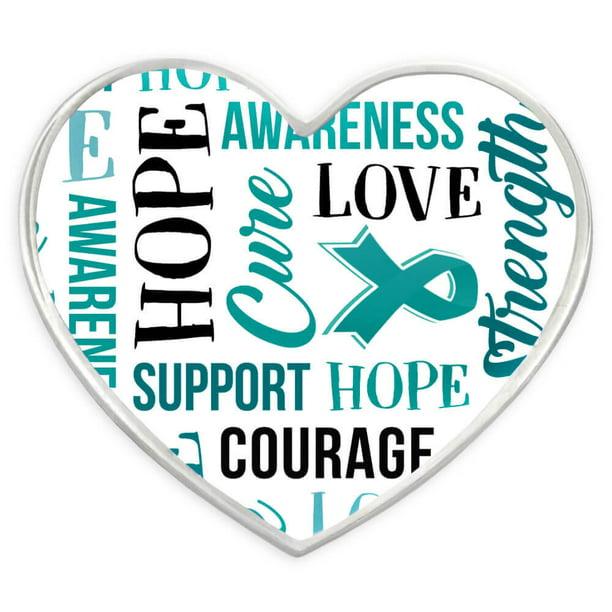 Pinmart Pinmart S Teal Heart W Words Ovarian Cancer Awareness Hope Lapel Pin Walmart Com Walmart Com