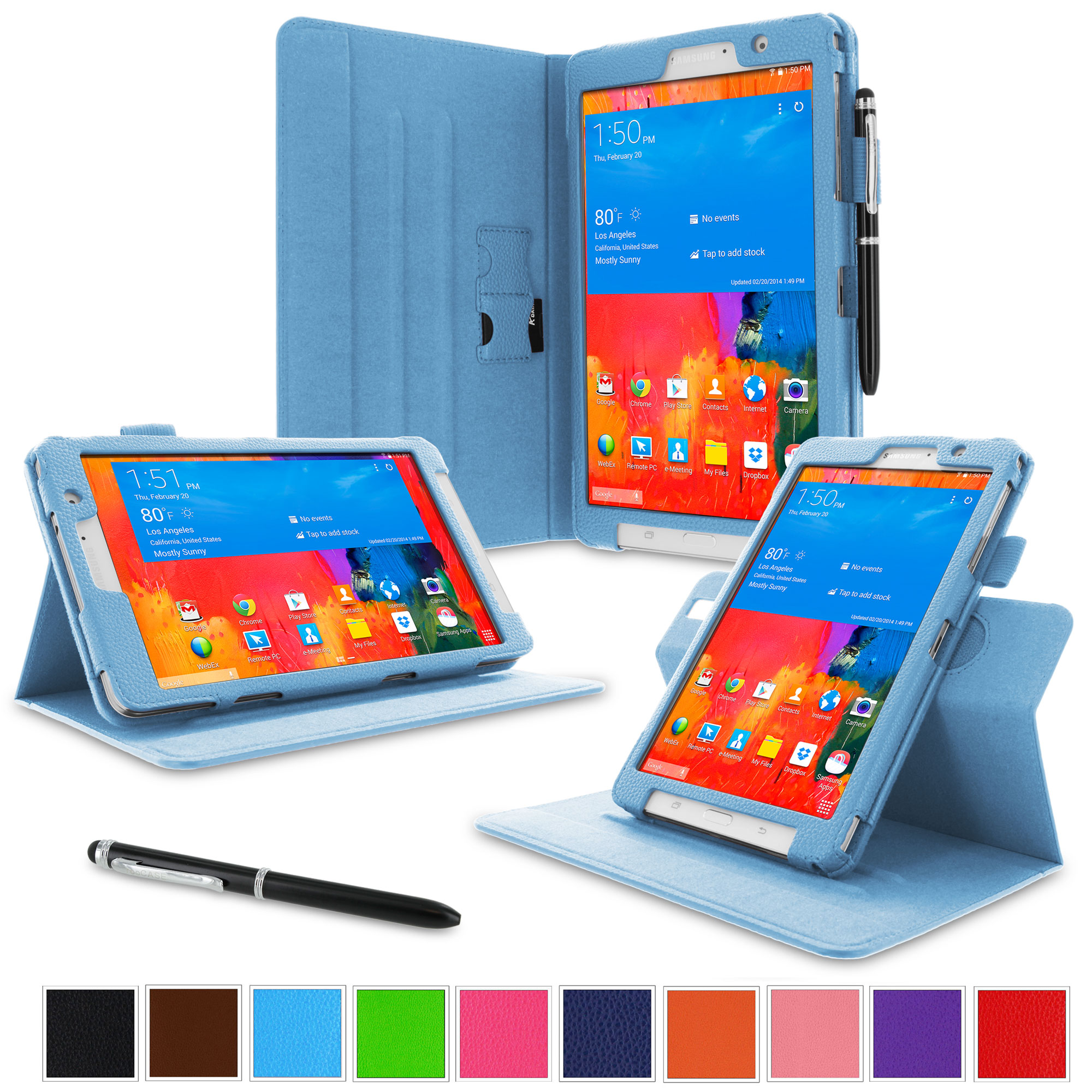 "rooCASE Samsung Galaxy Tab Pro 8.4 Case - Dual View Multi-Angle Stand 8.4-Inch 8.4"" Tablet Case - BLUE (With Auto Wake / Sleep Cover)"