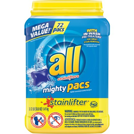 All With Stainlifters Mighty Pacs Super Concentrated Laundry Detergent  72 Count  50 7 Oz