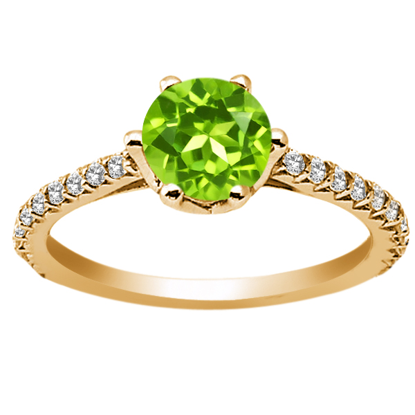 1.27 Ct Round Green Peridot White Diamond 18K Yellow Gold Engagement Ring