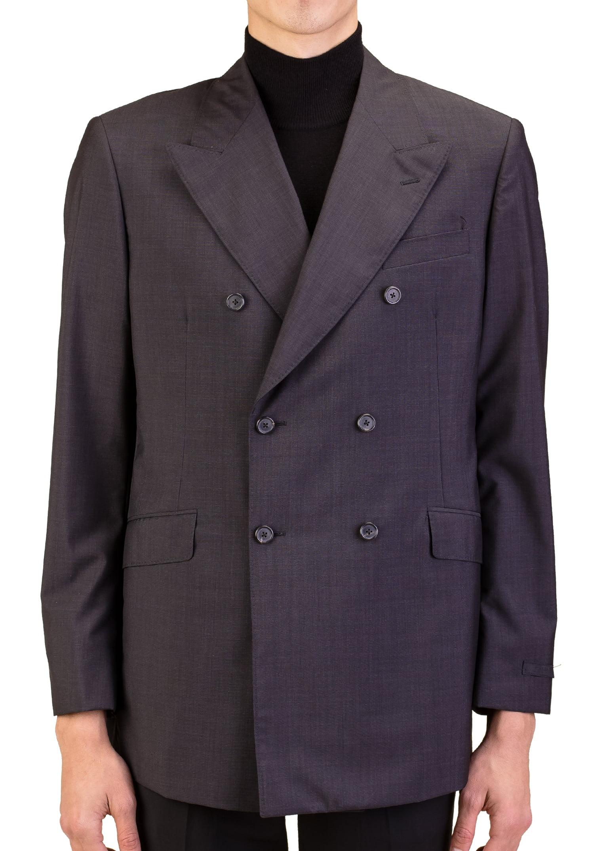 Prada Men's Wool Silk Double Breasted Jacket Sportscoat Black by Prada
