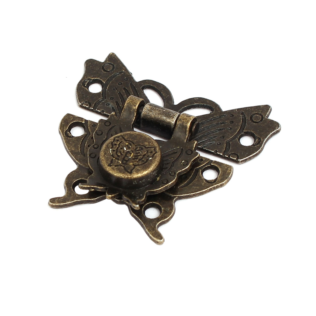 Wooden Box Case Butterfly Design Latch Hasp Lock Bronze Tone 50mmx45mmx8mm