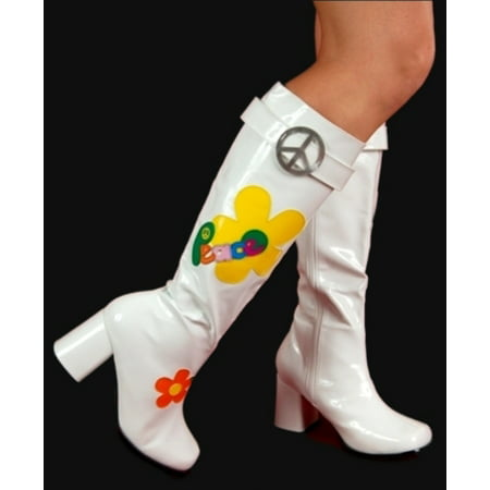 Ellie Shoes Hippie Flower Power Hippy Costume White Go Go Boots (Flower Power Costume)