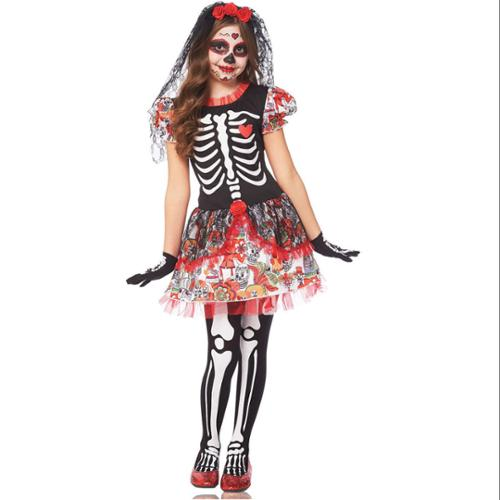 Day Of Dead Girl Costume for Kids - Size M