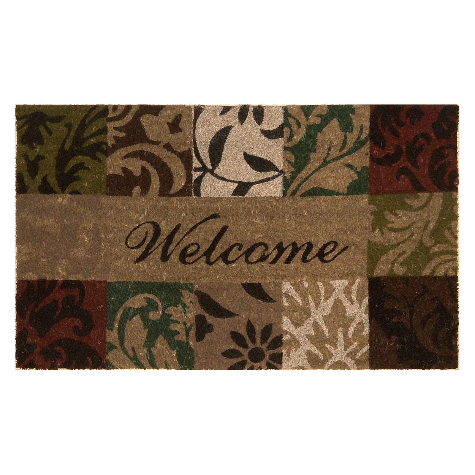 Damask Welcome Coir Mat with Vinyl Backing 18 x 30
