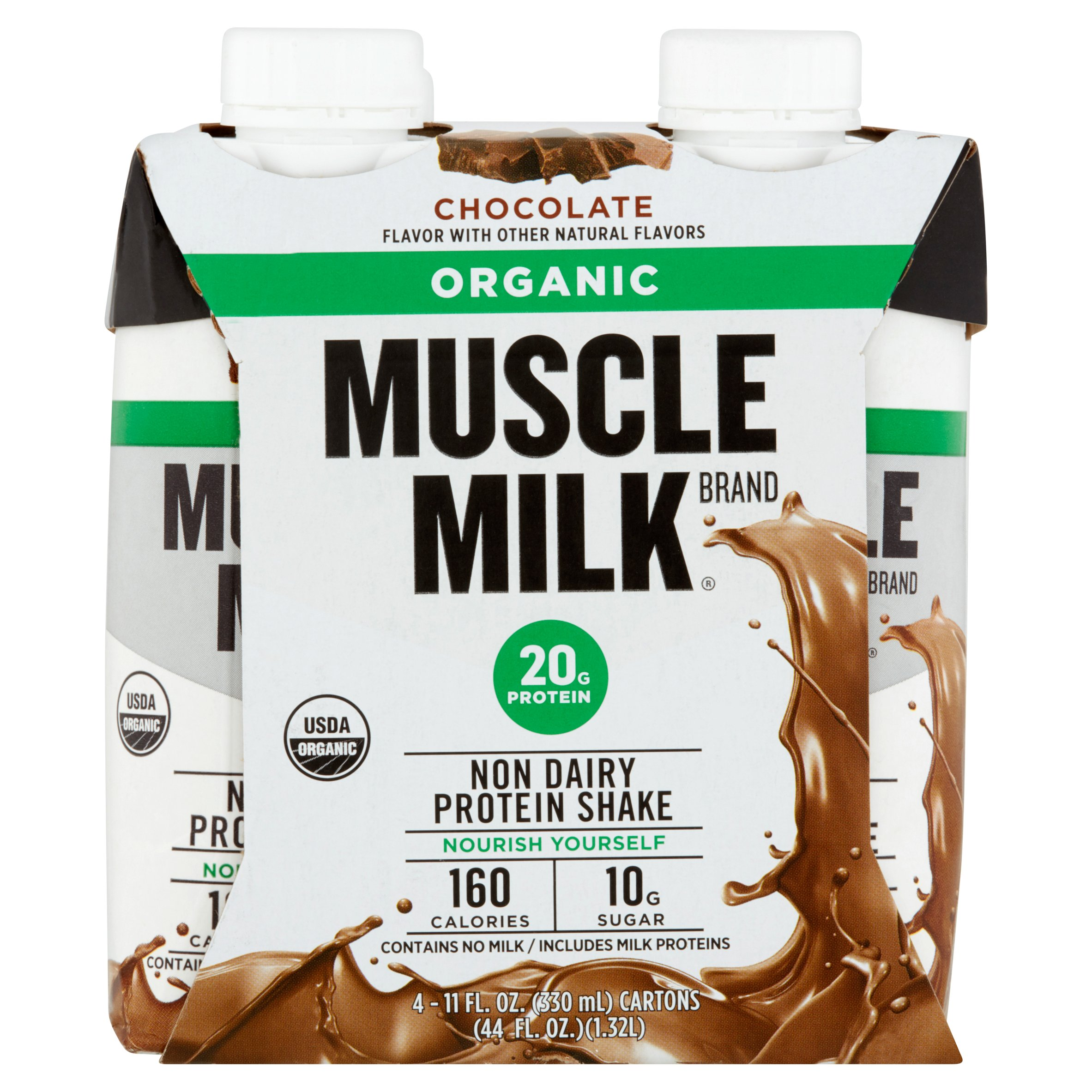 Muscle Milk Organic Chocolate Non Dairy Protein Shake, 11 fl oz, 4 count