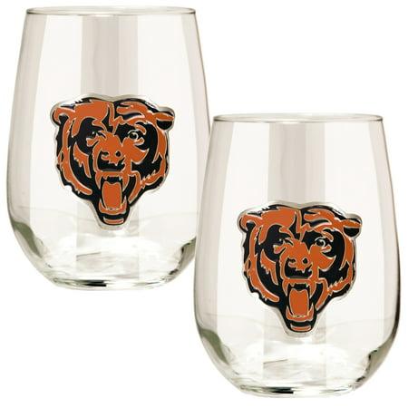 Chicago Bears 15oz. Stemless Wine Glass Set American Classic Wine Set