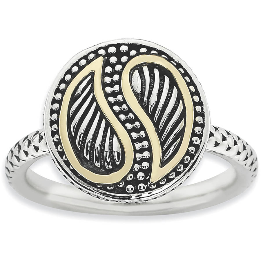 Stackable Expressions Sterling Silver and 14kt Gold Antiqued Ring