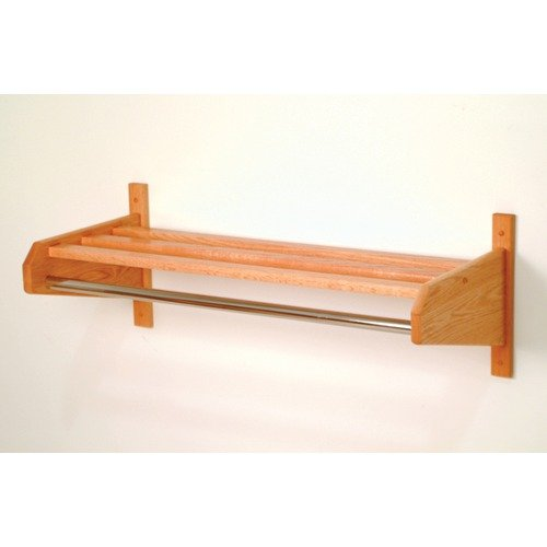 Wooden Mallet Coat and Hat Rack with Chrome Bar