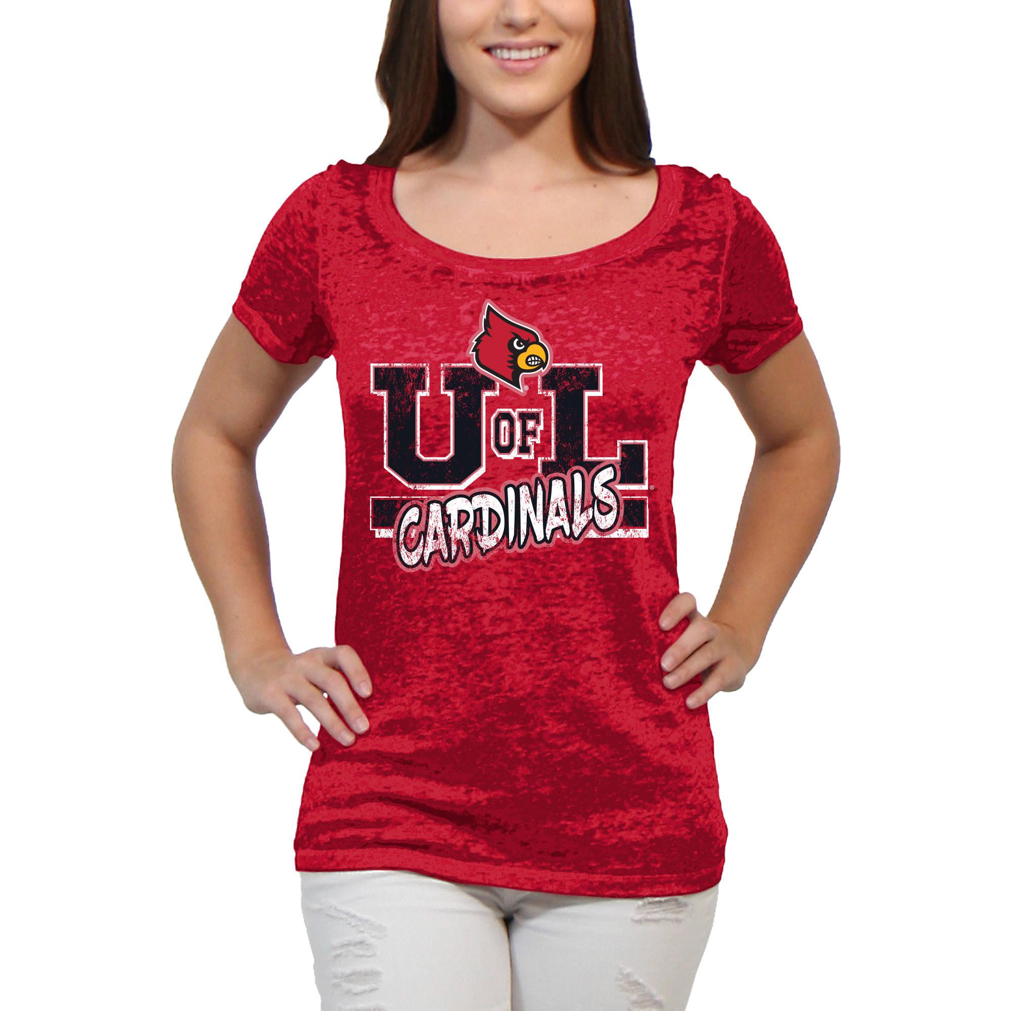 Louisville Cardinals Block Graffiti Women'S/Juniors Team Short Sleeve Scoop Neck Tee Shirt