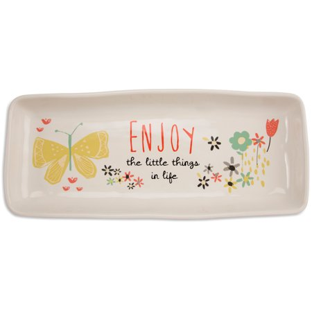 Pavilion - Enjoy the Little Things in Life Floral Butterfly Long Serving Tray Dish ()