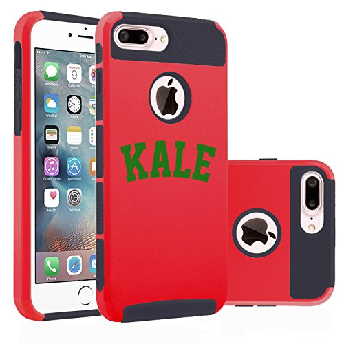 For Apple iPhone (7 Plus) Shockproof Impact Hard Soft Case Cover Kale (Red)