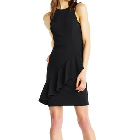 Womens Flounced Sheath Dress 8 Solid Crepe Dress