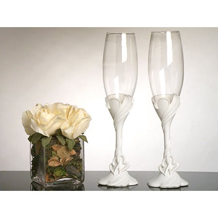 Two Hearts Become One Toasting Glasses Heart Toasting Glasses