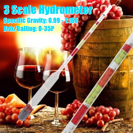 Aimeeli Triple Scale Hydrometer Transparent Beer Wine Jar Alcohol Home Brew Homebrew