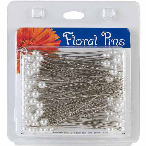 "Floral Pins, 3"", 6mm, Round, 144pk, White"