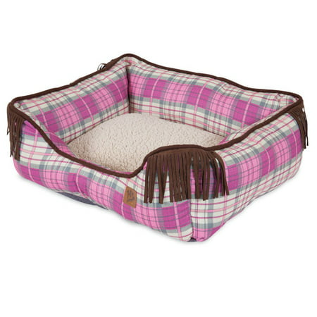 - MuttNation Fueled By Miranda Lambert Lambswool Corner Fringe Printed Lounger Bolster Dog Bed