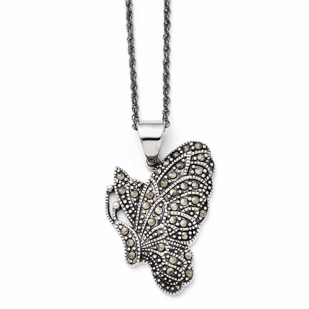 Goldia Stainless Steel Butterfly Marcasite Necklace