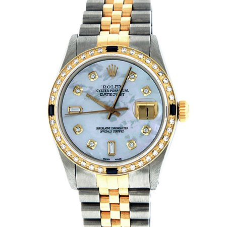 Pre-Owned Rolex Mens Datejust Steel & 18K Yellow Gold MOP Diamond & Sapphire Watch 16013 Jubilee
