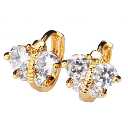 Gemini Women's Jewelry Yellow Gold Filled Small Huggies Hoop CZ Diamonds Earrings Valentine's Day Gifts Gm104 (Diamond Channel Huggie Earrings)