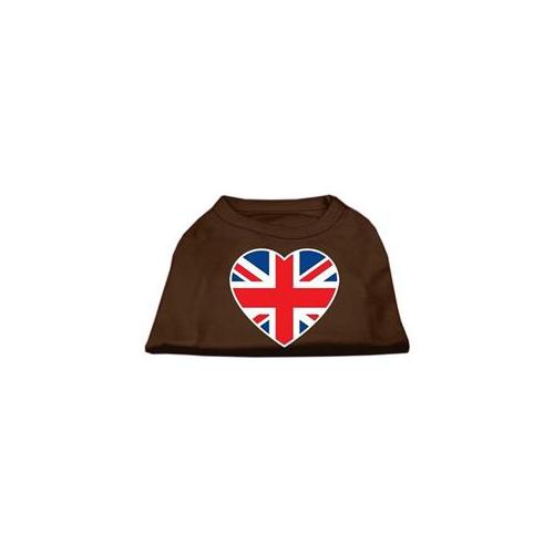 Image of Mirage 51-137 XXLBR British Flag Heart Screen Print Dog Shirt Brown 2XL