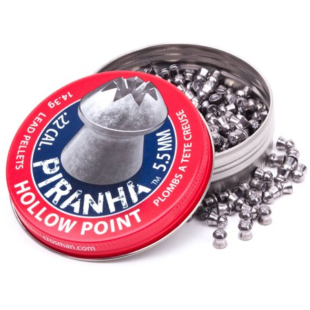 Canary Pellets - Crosman Piranha Premier Hollow Point Pellets, 14.3 Grain, .22 Cal, 400ct
