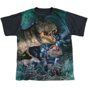 Jurassic Park - Dinos Gather - Youth Short Sleeve Black Back Shirt - Medium