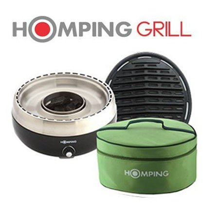 Homping Grill - Ultimate Portable Charcoal BBQ Grill. Produces Less smoke. Combined with its electric fan for air/heat control. (Smoke Hollow Charcoal Grill)