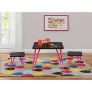 Betty Retro-Style Kids Table and Stools Set, Espresso/Pink