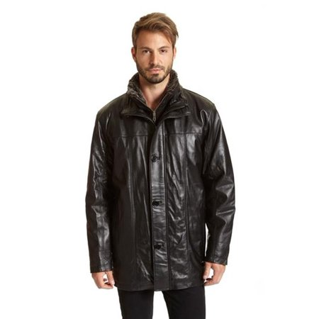 260b7aa5219da Excelled - Excelled M2006NZB Mens Big   Tall Leather Car Coat with  Removable Faux Fur Bib  44  Black - 3XL - Walmart.com