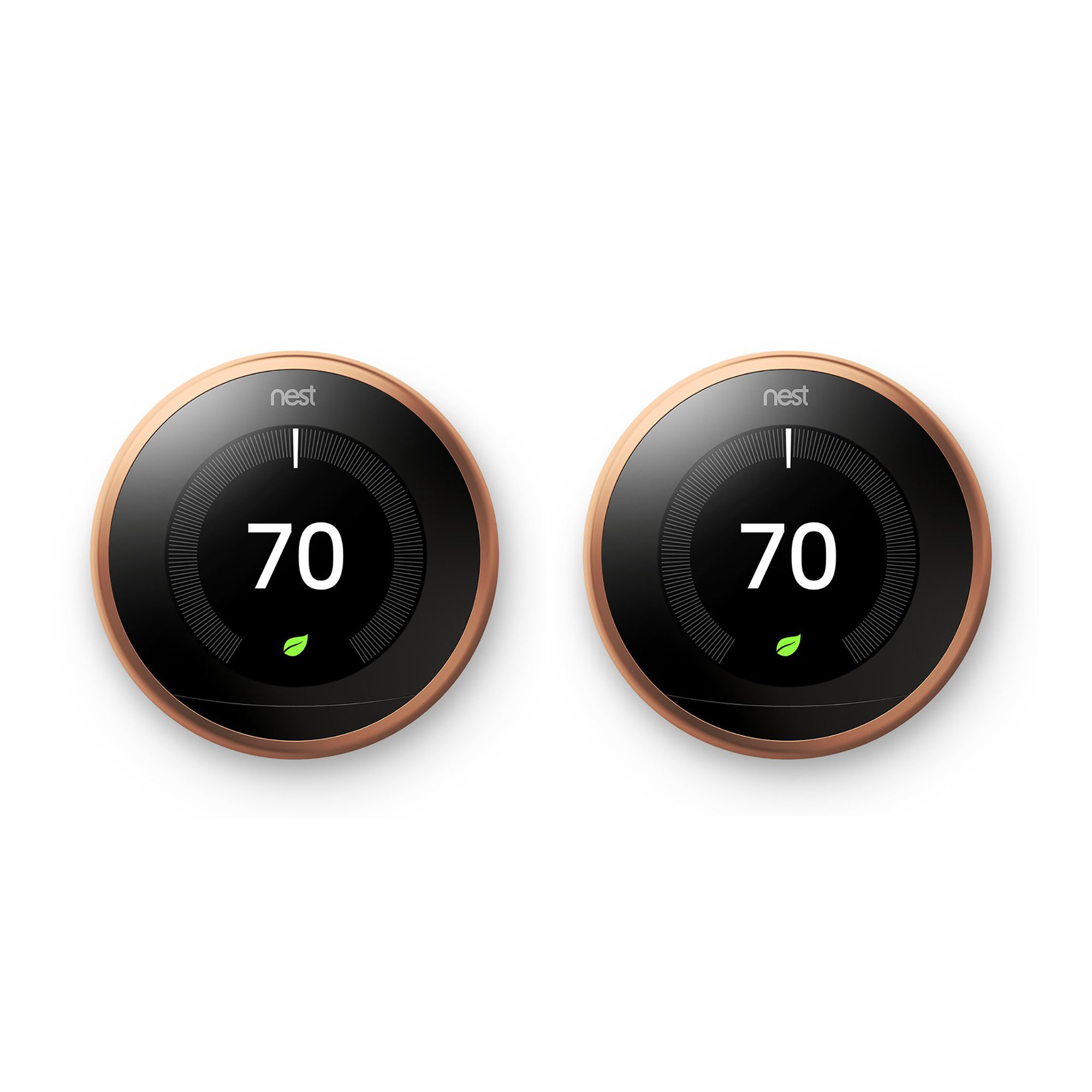 Nest Learning Smart Thermostat 3rd Generation Home/Office Wifi, Copper (2 Pack)