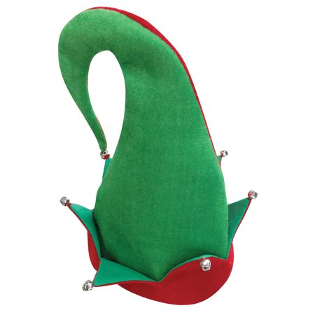 Loftus Jingle Bells Santa's Elf Curved Adult Costume Hat, Green Red, One Size - Green Santa Hats