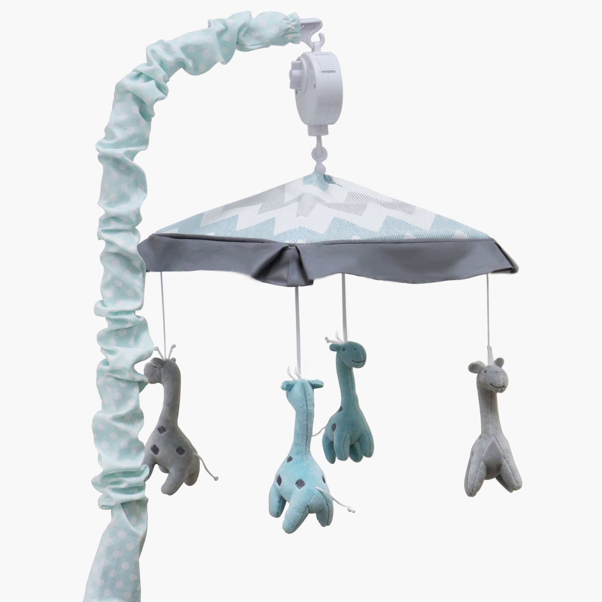 The Peanut Shell Baby Crib Mobile - Grey and Mint Chevron and Giraffes - Uptown Giraffe Musical Mobile