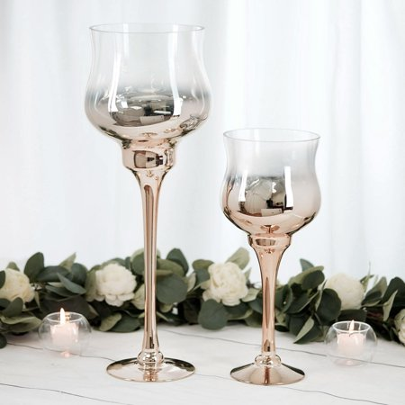 Chrome Pillar Covers (BalsaCircle 2 Ombre Wine Glass Pillar Candle Holders - Party Wedding Dining Reception Event Centerpieces Home Wholesale Decorations )