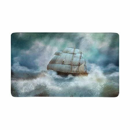 MKHERT Cool Sailing Pirate Ship in Thunderstorm Doormat Rug Home Decor Floor Mat Bath Mat 30x18 inch